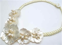 20656 MOP 5 flowers Combo with Single Pearl Necklace