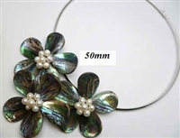 20670-10 Abalone 3 Flowers Pendant w/Cable Necklace
