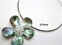 20670-13-14 Abalone 1 Flower Pendant w/Cable Necklace