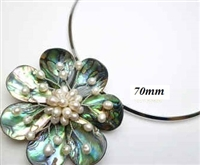 20670-15 Abalone 1 Flower Pendant w/Cable Necklace