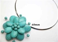20670-21 Turquoise 1 flowers pendant with Cable Necklace