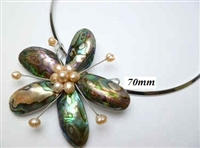 20670-23 Abalone 1 Flower Pendant w/Cable Necklace