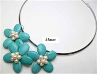 20670-3 Turquoise 3 flowers pendant with Cable Necklace