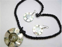 30391-23 Sea Shell Pendant w/Sea Beads Necklace & Earring Set