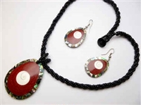 30391-7 Sea Shell Pendant w/Sea Beads Necklace& Earring Set