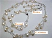 38059Set  Fresh Water Pearl w/Stone Set