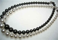 "38409 8-12mm Graduation MOP Shell pearl Necklace 18"" w/925 Silver Claps"