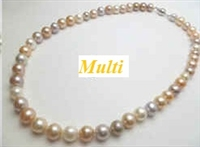 "38415 8mm Potato Fresh Water Pearl Necklace 18"" w/925 Silver 8mm Claps"
