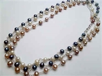 "38422 6mm Fresh Water Pearl Necklace 16"" w/925 Silver Chain + 2"" extension"