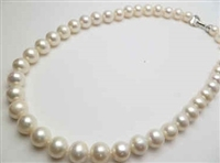 "38427-10 10mm Fresh Water Water Pearl Necklace 18"" w/925 Silver Claps"