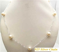 "38429-6 6mm Fresh Water Water Pearl Necklace 18"" w/925 Silver Chain"