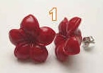 43248 16mm Synthetic Coral Flower w/925 Silver Hook