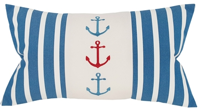 Three Anchors on Regatta Blue Stripes