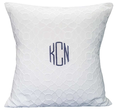 Circle Monogram Matelasse Pillow in White
