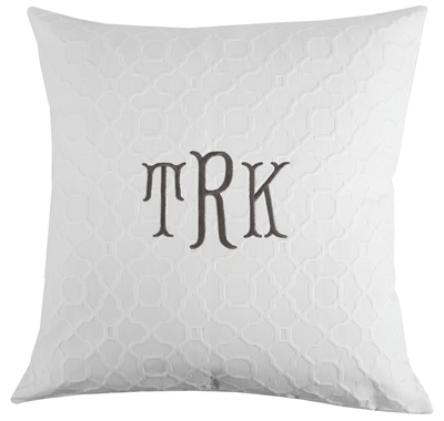 Traditional Monogram Matelasse Pillow in Gray or White