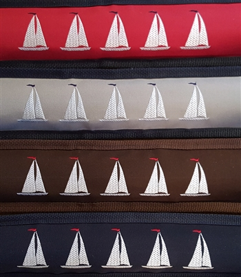 Draft Stopper Embroidered Sailboats