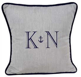 Anchor Monogram Pillow in Granite