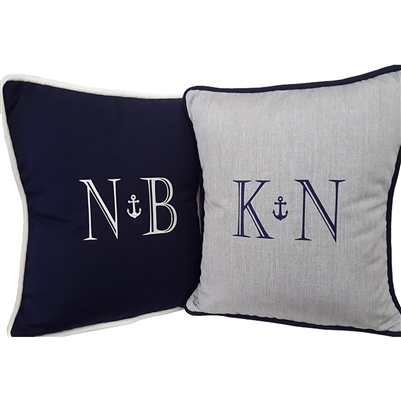 Anchor Monogram Pillow in Navy