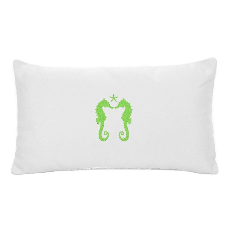 embroidered sunbrella lumbar pillow