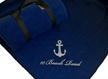 Navy Blue Embroidered Fleece Throw Blanket