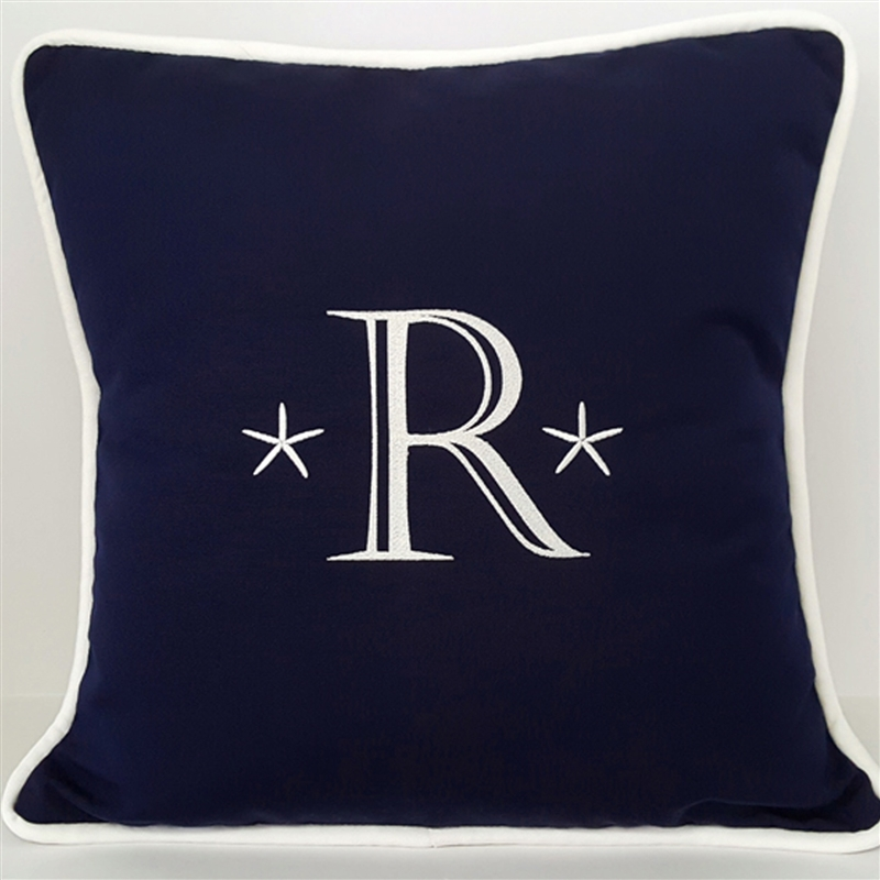 Starfish Monogram Pillow in Navy Blue
