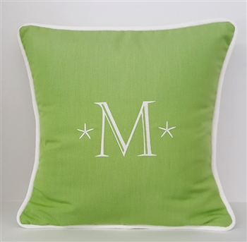 Starfish Monogram Pillow in Parrot Green