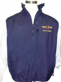 Navy Blue Embroidered Reversible Vest