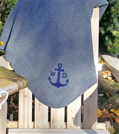 Embroidered Fleece Throw - Anchor with Monogram