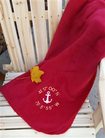 Embroidered Fleece Throw - Latitude & Longtitude