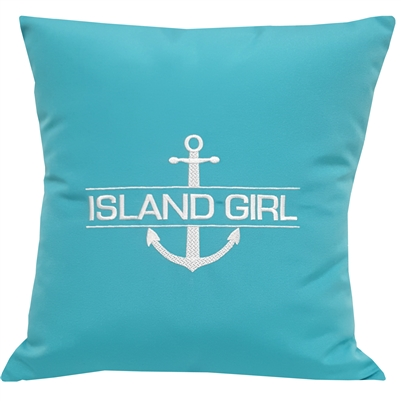 Custom Split Anchor Pillow in Aruba Blue