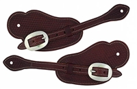 Weaver Basketweave Cowboy Spur Straps Brown For Sale
