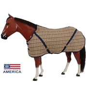 Open Front Stable Sheet; Give your horse an essential part of his wardrobe with these Bengal Open Front Stable Sheets. A traditional sheet offered in a Navy plaid, a favorite among horsemen.