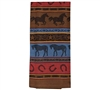 Horse Themed Tea Towel; This lovely rustic colored tea towel is the perfect addition to every horse lovers kitchen. Featuring a colorful array of horseshoes, walking and running horses add this cozy addition to you or a loved ones life today!