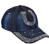 Denim & Bling Horseshoe Cap Showoff your horse enthusiasm with this trendy distressed denim and bling ball cap. Featuring hundreds of dazzling crystals, and a easy adjust back the perfect hat for a sunny day! Find the best prices at Horse Lovers Outlet!