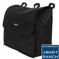 Blanket Storage Bag measures 23 x 19 x 9 heavy cordura with three adjustable loops with snap closures to securely attach the bag to a stall front, trailer, or tack room. Large opening with quick grip closure at top at Horse Lovers Outlet.