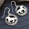 Small Running Horse Circular Earrings for Sale!