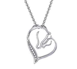 Mare and Foal Heart Necklace for sale!