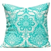 Pineapple Damask Pillow - Aqua