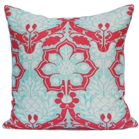 Pineapple Damask Pillow - Coral