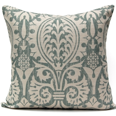 Medieval Damask Pillow - Oyster Bay