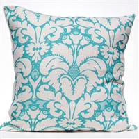 Plumes Damask Pillow - Aqua
