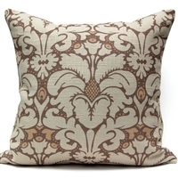 Plumes Damask Pillow - Chocolate