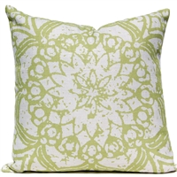 Stamped Flower Pillow - Green