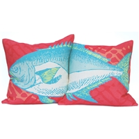 Fish Pillow Set - Coral