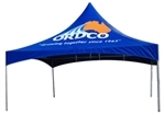 This durable, high quality, best value custom printed high peak canopy event tent is full color and would be perfect for the display of your business logo at your next out door event.
