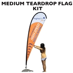 MEDIUM CUSTOM PRINTING ADVERTISING TEARDROP FLYING BANNER FLAG KIT (Single-Sided)