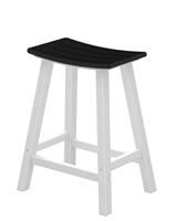 "Contempo 24"" Saddle Bar Stool (White Frame)"
