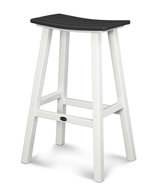 "Contempo 30"" Saddle Bar Stool (White Frame)"