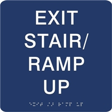 Exit Stair Ramp Up Braille Sign