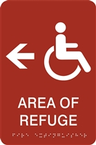 ADA Braille Area of Refuge Directional Sign